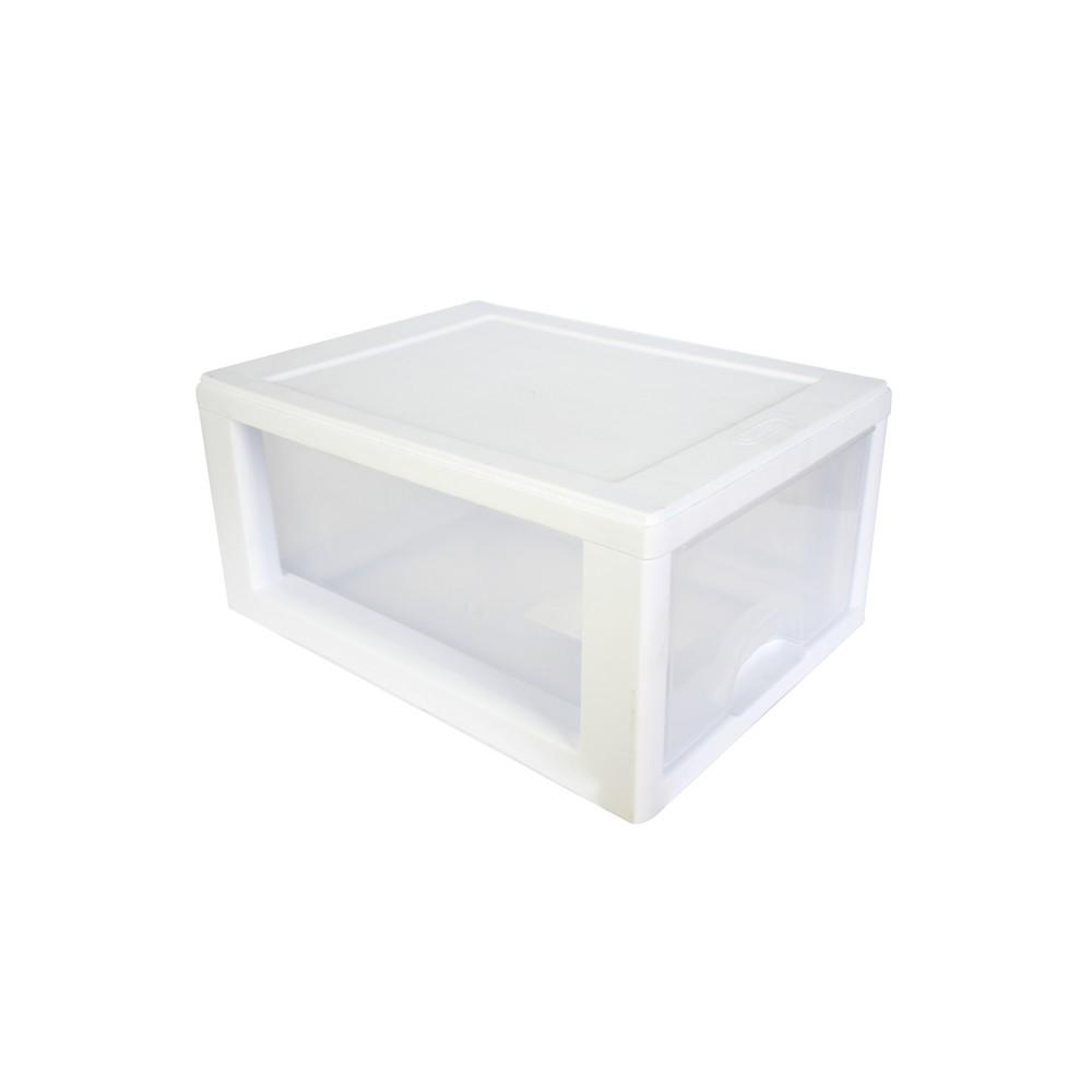 Organizador plástico de 1 gaveta, color blanco.