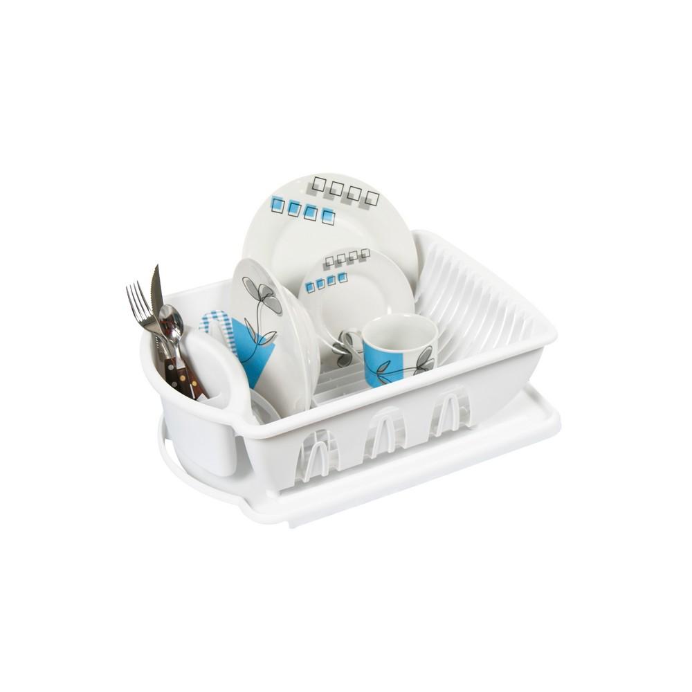 Escurridor para trastos plastico blanco con base