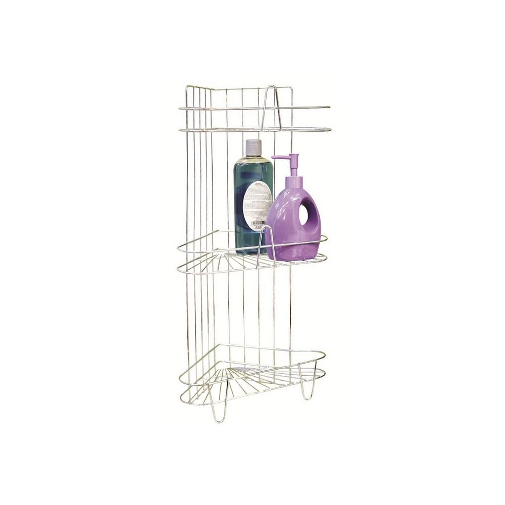 Organizador esquinero de 3 repisas para ducha acabado for Organizador para ducha