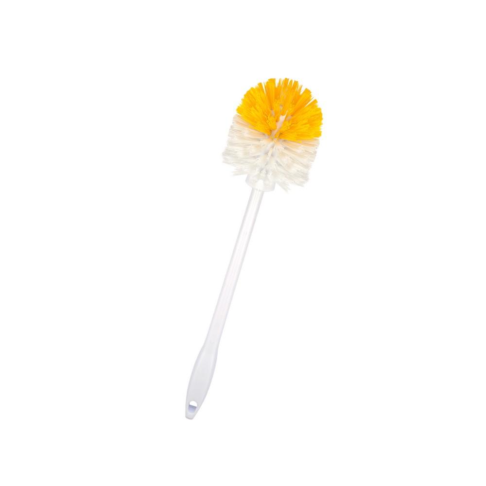 Cepillo plastico para inodoro blanco con amarillo
