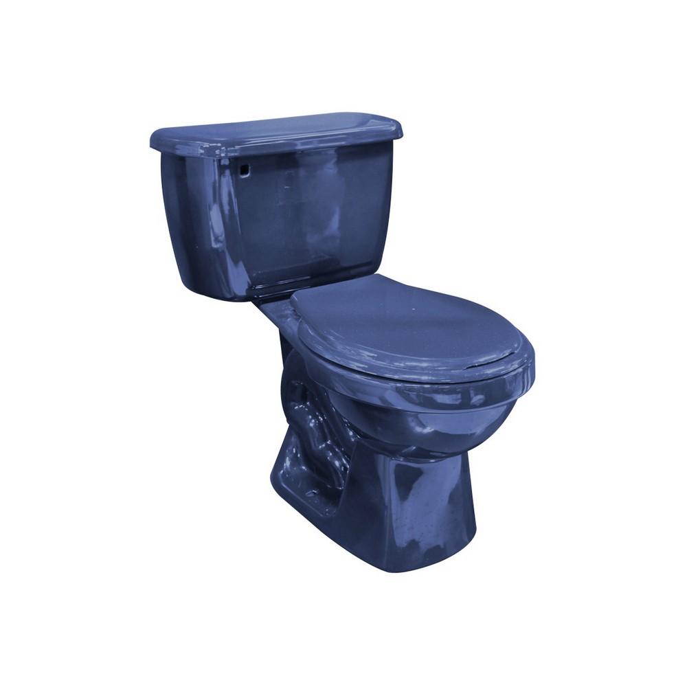 inodoro azul de 2 piezas redondo