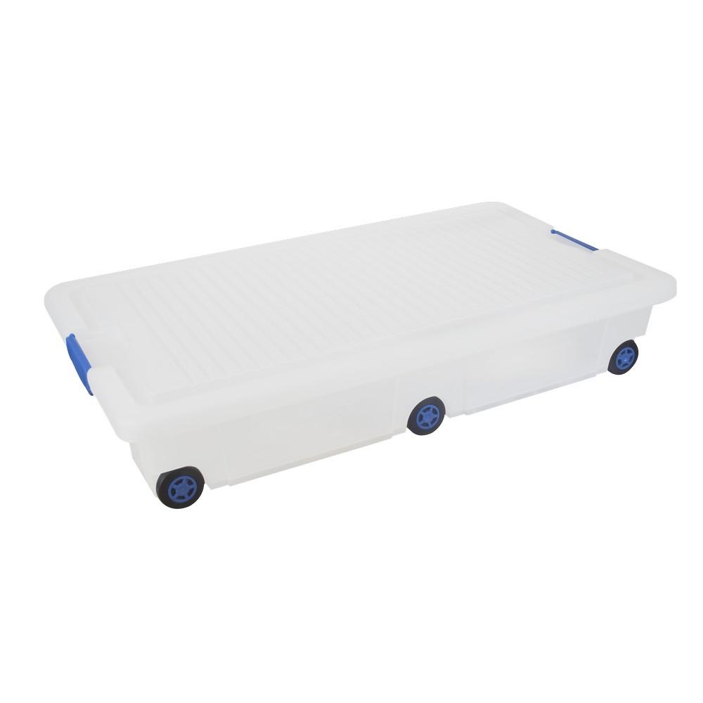 Caja organizadora bajo cama, de 30 litros, transparente/azul.