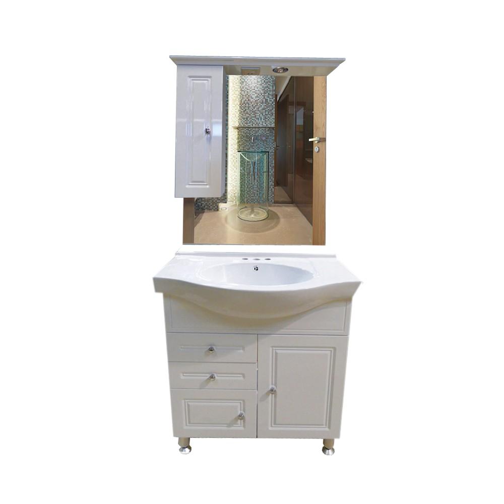 Gabinete con lavamanos y espejo - Muebles para lavabos con pedestal ...