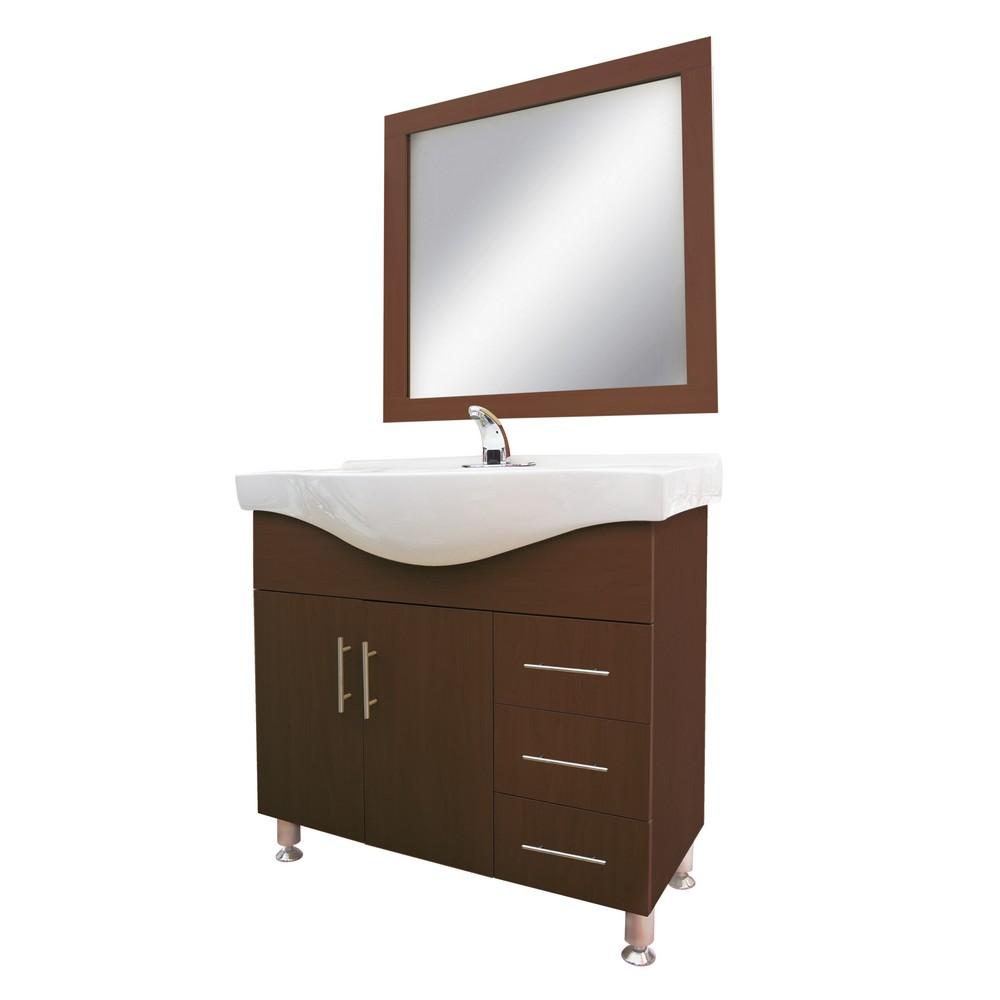 Gabinete de madera con lavamanos y espejo gabinetes con for Gabinetes para bano en madera