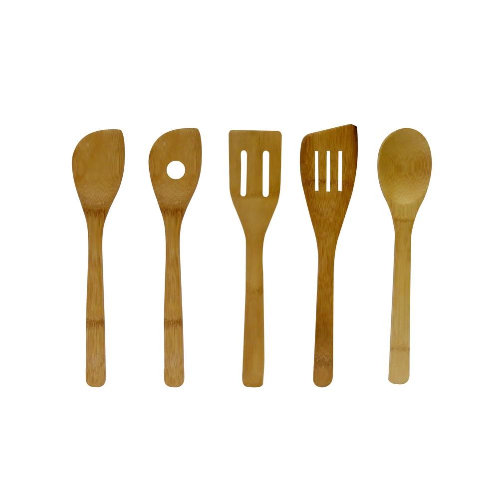 Set espaulas y cucharas bambu 5 pzas
