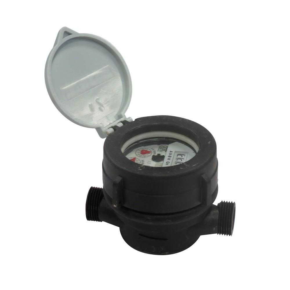 Medidor plástico de agua 1/2 pulg