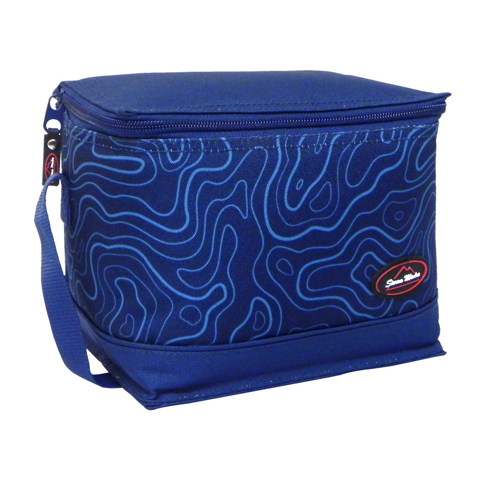 Lonchera de tela insulada azul cuadrada sierra madre