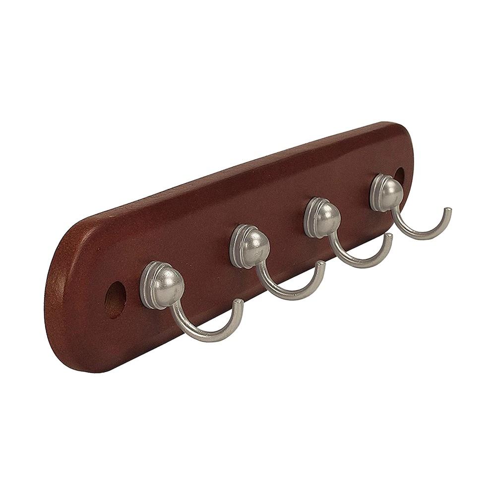 Porta llaves de madera café 4 ganchos