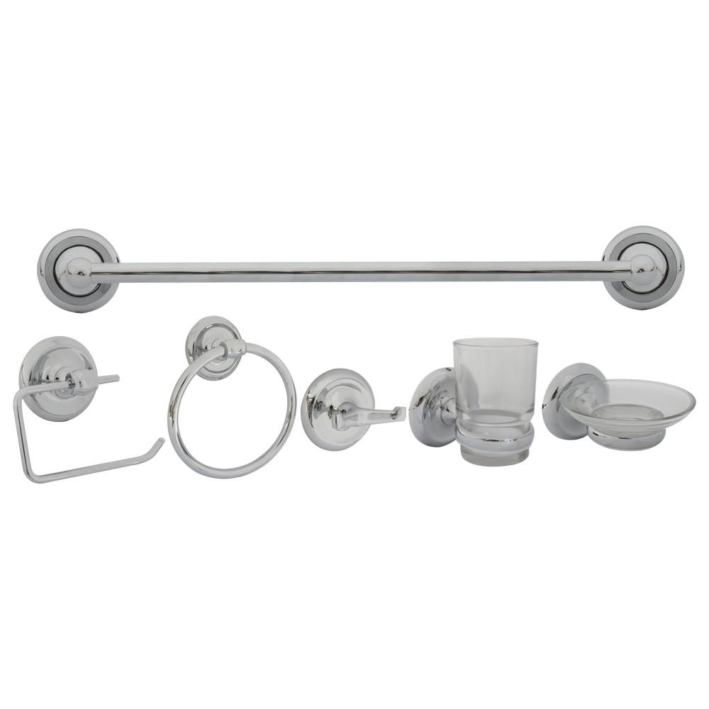 Accesorios para ba o cromados set de 6 piezas juegos de for Kit accesorios para bano