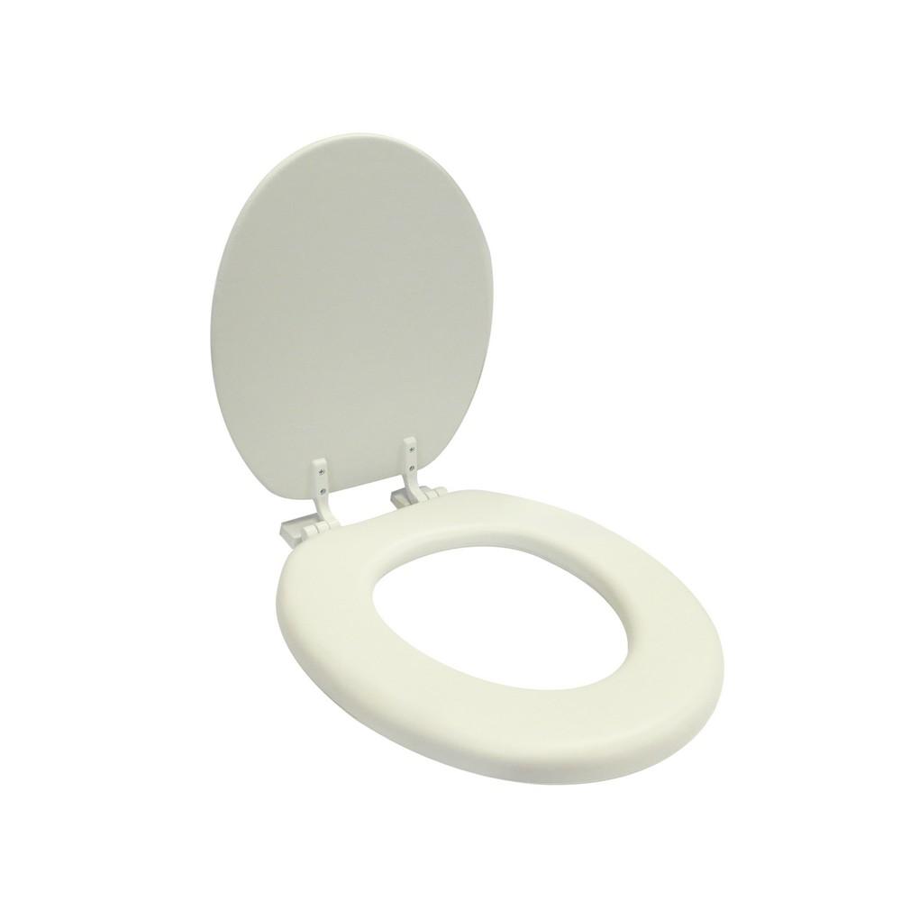 Asiento redondo acolchonado plástico para inodoro blanco hueso