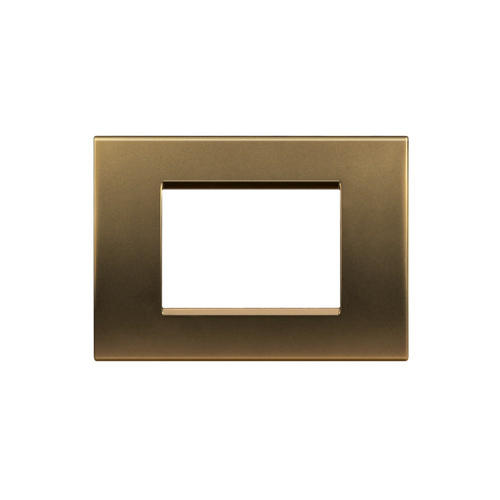 Placa triple bronce living light