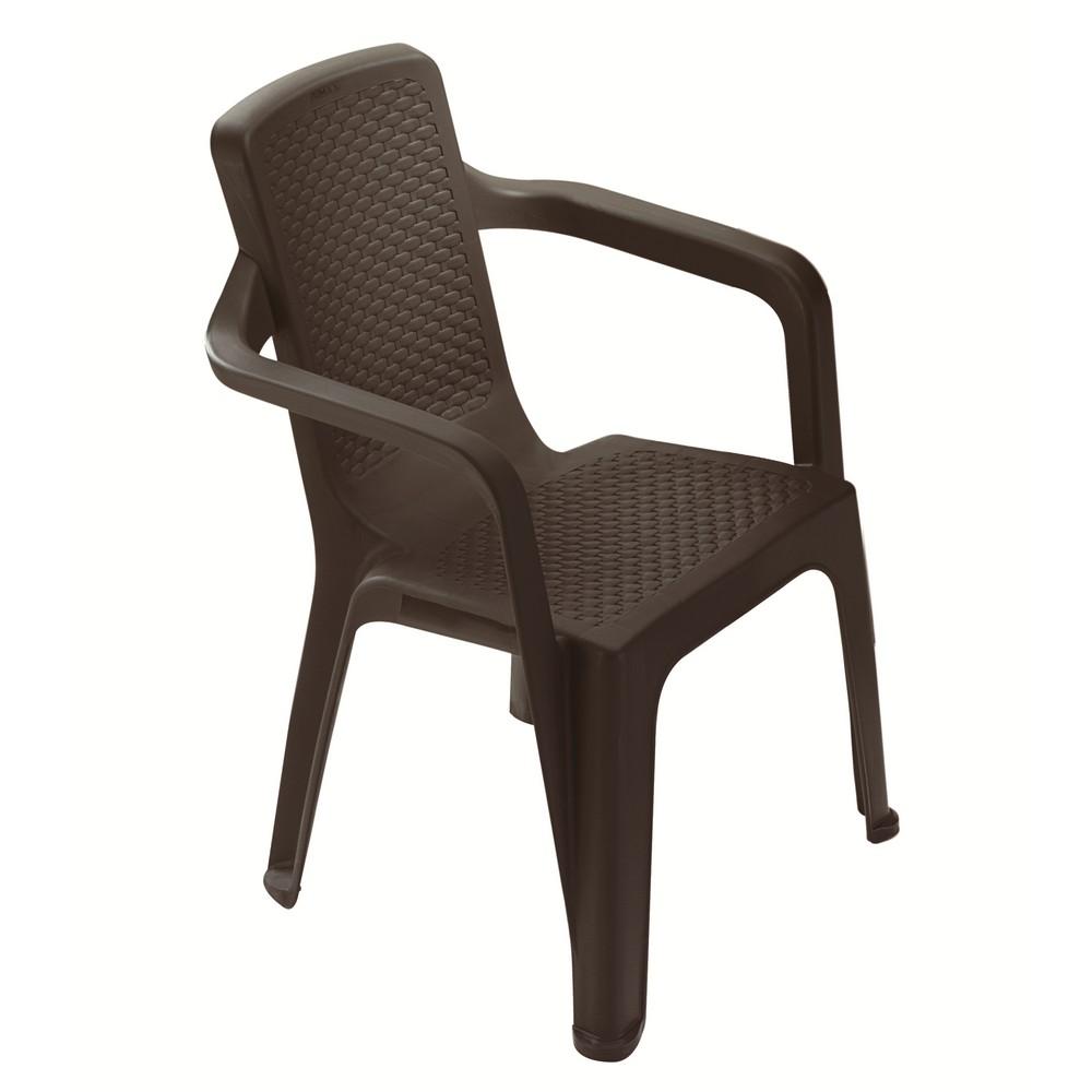 Silla pl stica con brazo caf sillas rimax for Sillas plasticas plegables