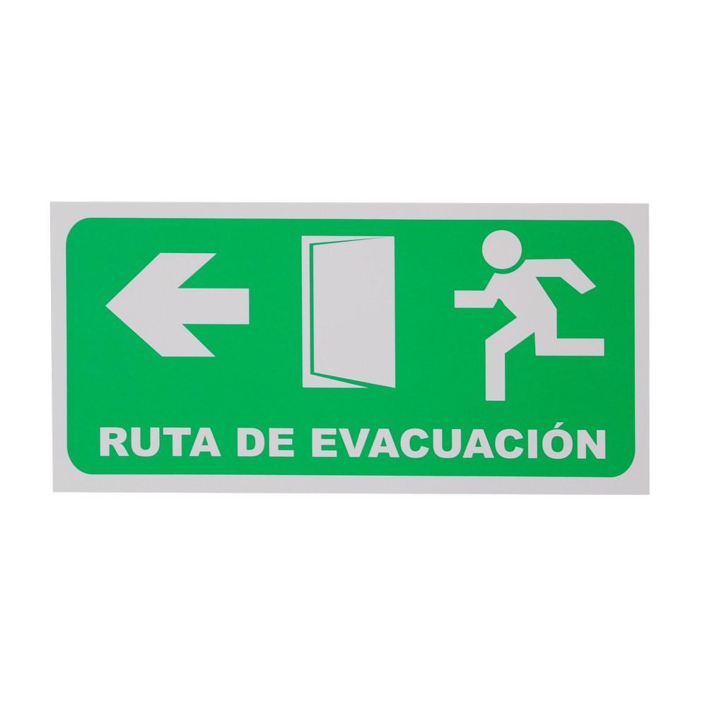 Rótulo ruta de evacuación izquierda 15 x 30 cm
