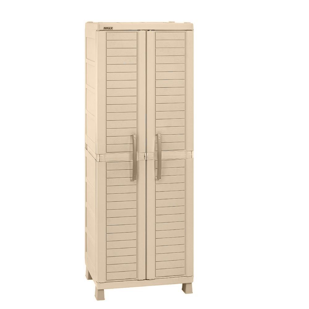 Armario pl stico grande beige verde closet portatil rimax for Armario plastico jardin