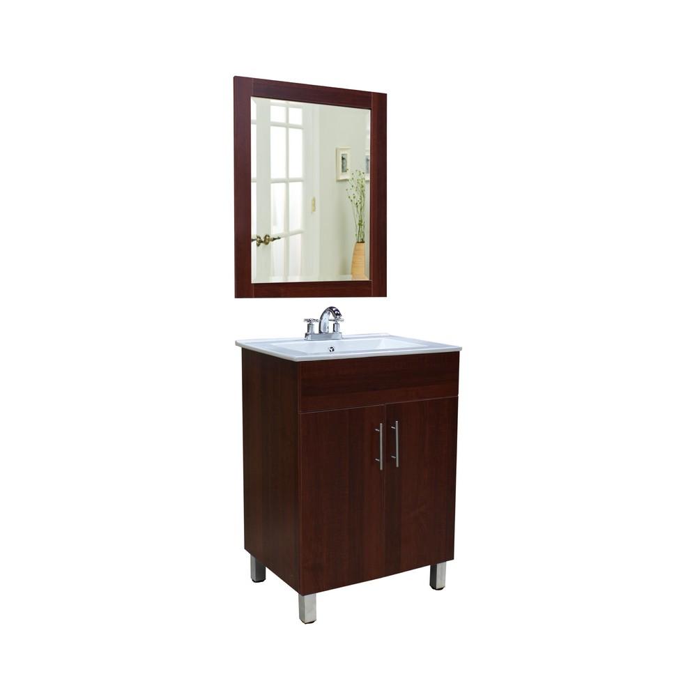 Gabinete de 2 puertas con lavamanos y espejo, acabado madera.