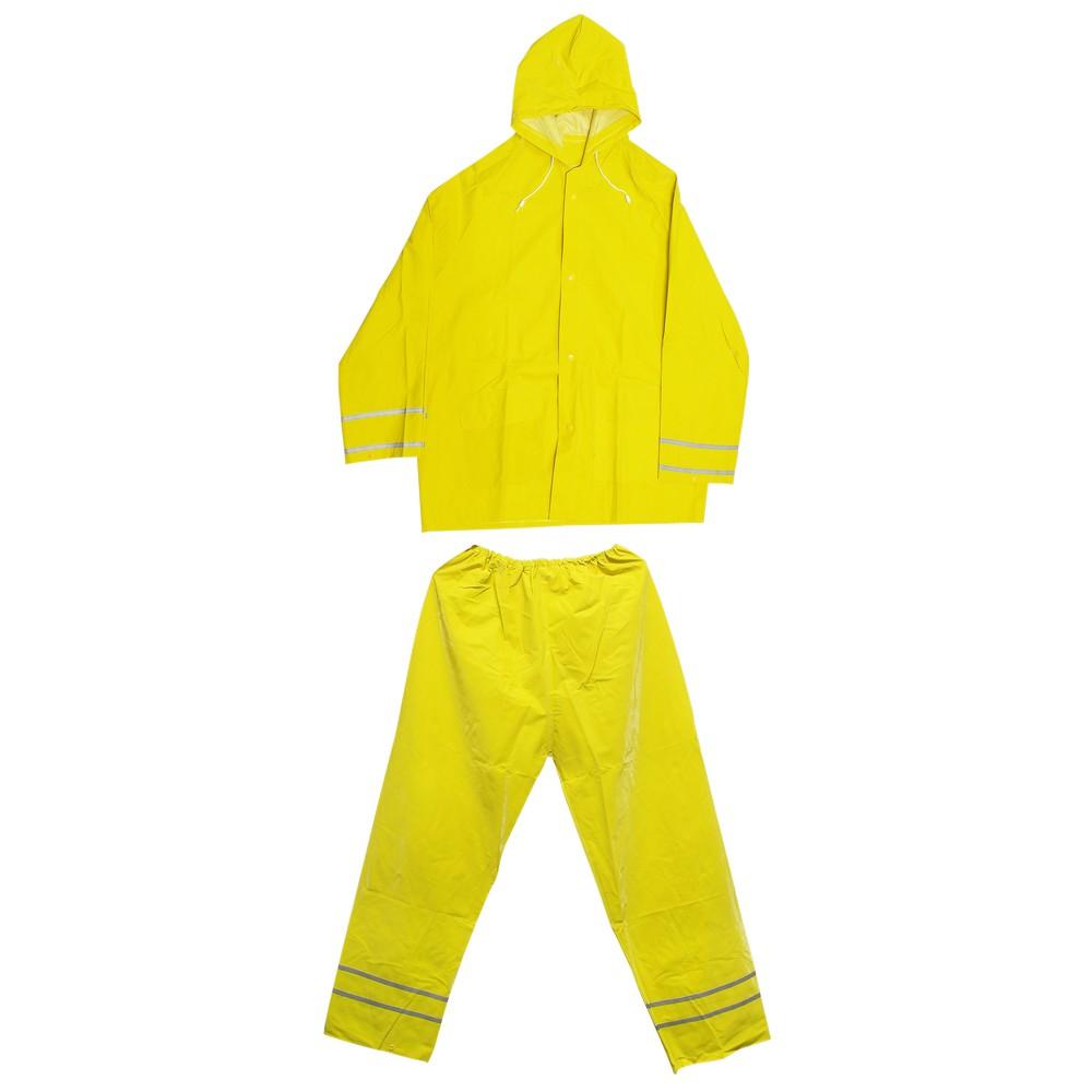 Traje para lluvia 2pzs talla m amarilla con cinta reflectiva